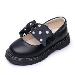 Butterfly-Knot Polka Dot  Black Shoes