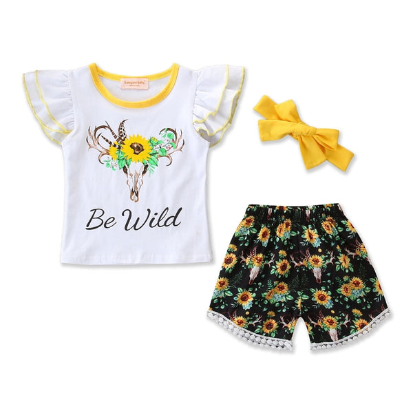 Be Wild Sunflower Tassel Shorts Outfit