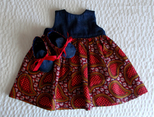 Denim Paisley Print Dress and Booties