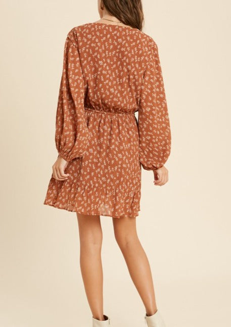 BARI FLORAL LONG SLEEVE DRESS
