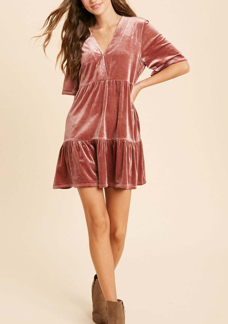 GINNY VELVET RUFFLE DRESS