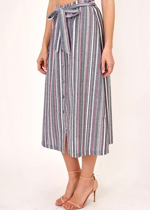 BUTTON DOWN MIDI SKIRT WITH TIE