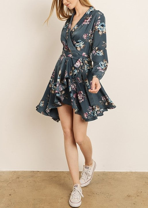 BRANDY FLORAL WRAP DRESS