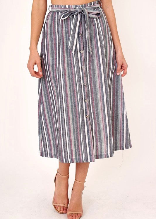 GRACE STRIPED MIDI SKIRT