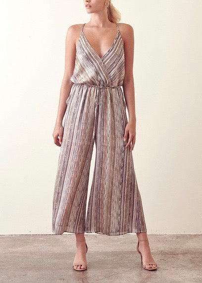 HILARY MULTI STRIPE WRAP JUMPSUIT