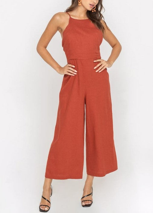 ANNIE WIDE LEG CROP JUMPSUIT