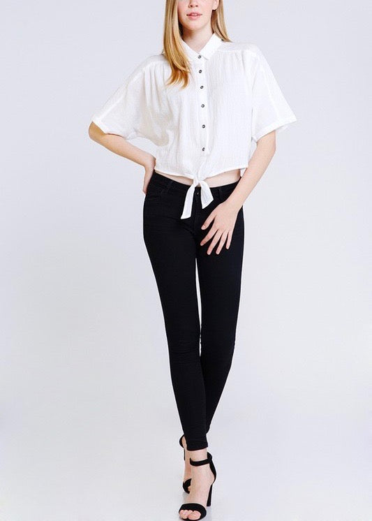 JANE BUTTON DOWN SELF TIE TOP