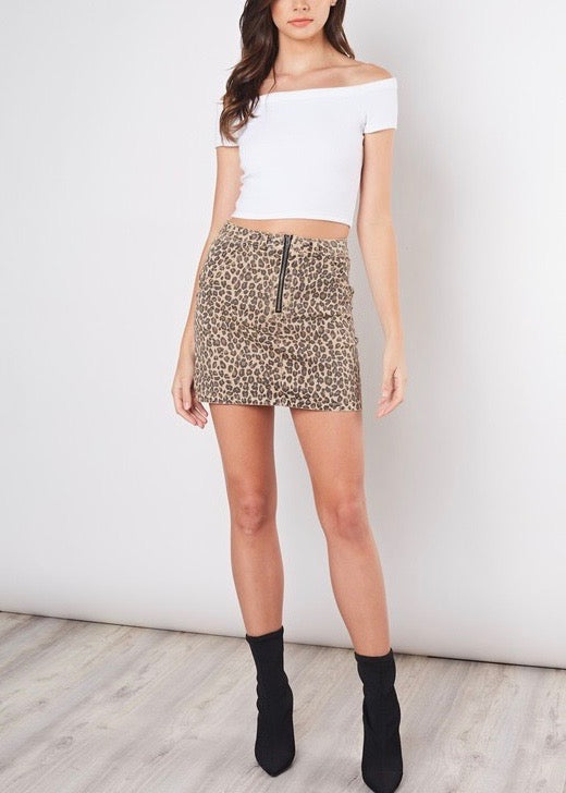 DANIELA LEOPARD MINI SKIRT