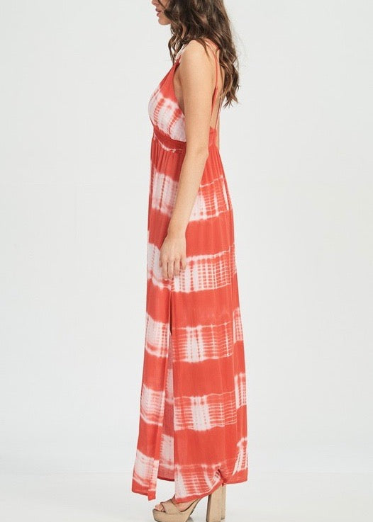 RED TIE DYE LOW V DRESS
