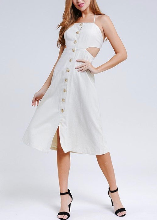 JET SETTER BUTTON DOWN MIDI DRESS