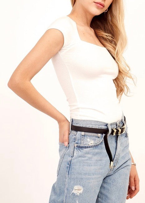 WHITE BODY CON RIBBED TOP