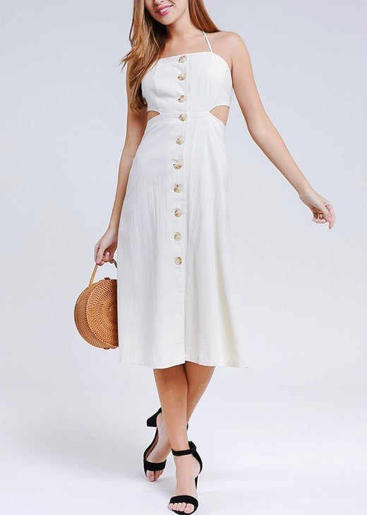 button down midi length dress