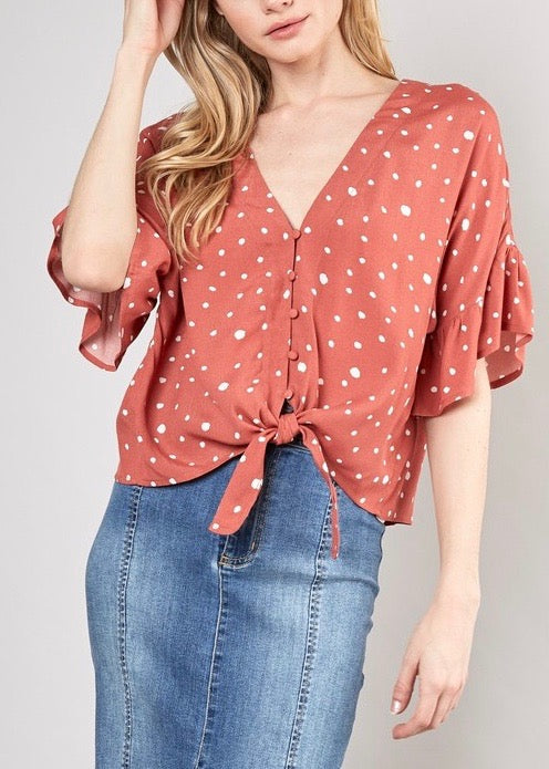 POLKA DOT TOP WITH FRONT TIES