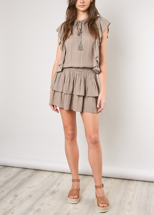 AMANDA SHEER RUFFLE DRESS