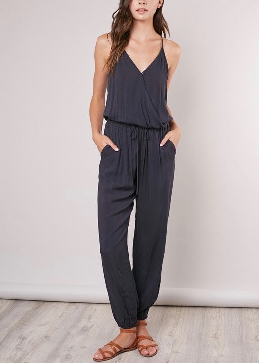 WASHED BLACK JOGGER JUMPSUIT