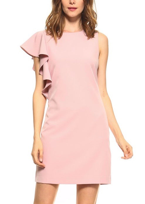 SASHA RUFFLE SHOULDER DRESS