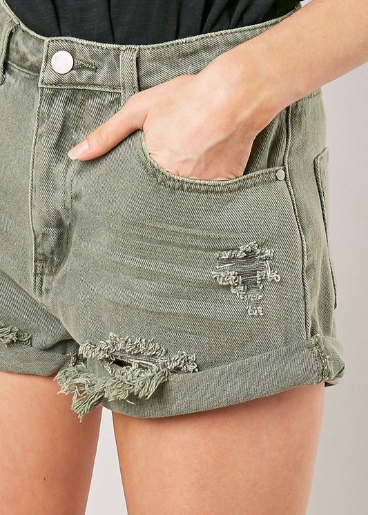 NINA DISTRESSED GREEN SHORTS