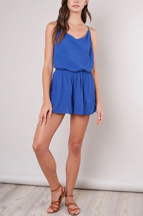ROYAL BLUE ROMPER WITH CROSS BACK