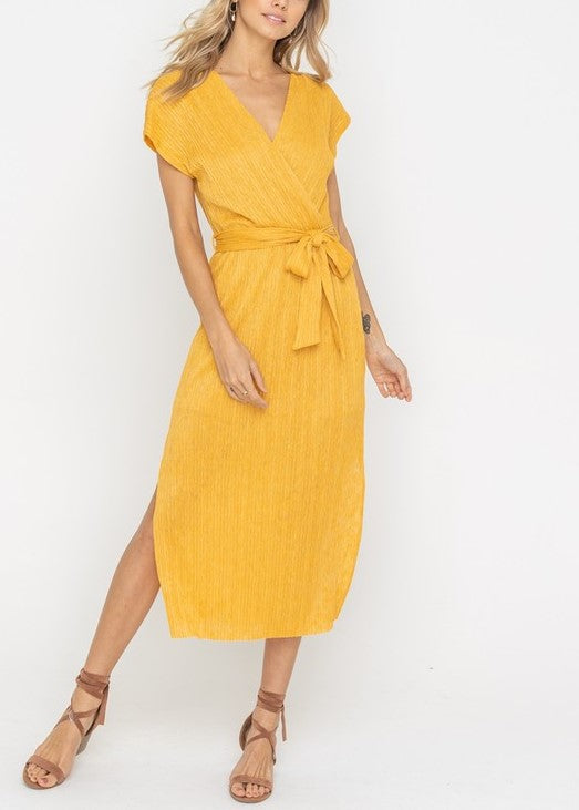 ERIN WRAP BELTED MIDI DRESS