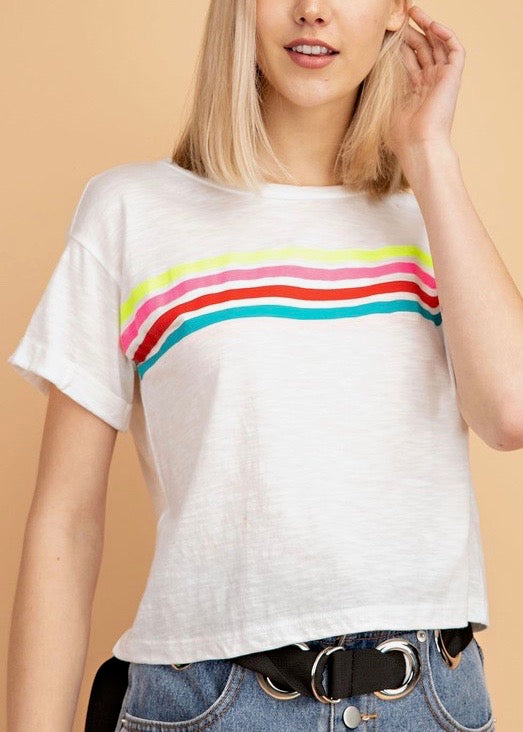 CHRISSY RAINBOW STRIPES T-SHIRT