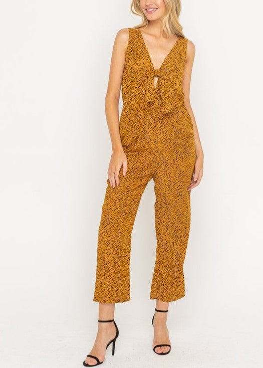 TYRA TIE FRONT SLEEVELESS JUMPSUIT