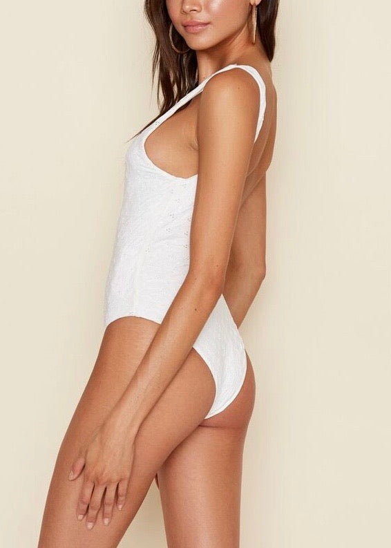 IVORY EYELET LOW BACK ONE PIECE BATHING SUIT