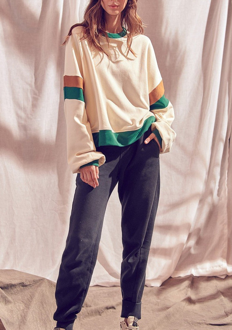JENNIFER COLORBLOCK SWEATSHIRT