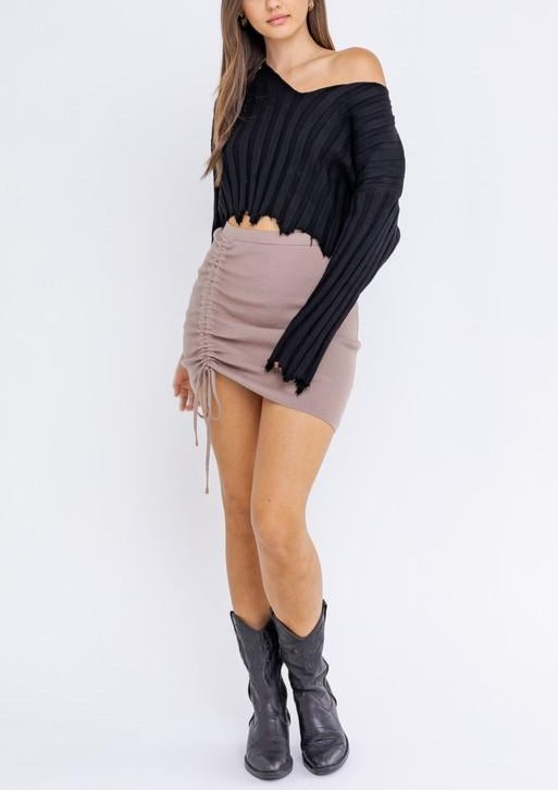 BRI CROPPED DISTRESSED SWEATER