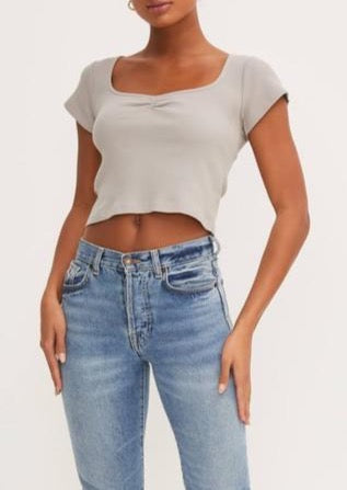 SUE RIBBED CROP TOP