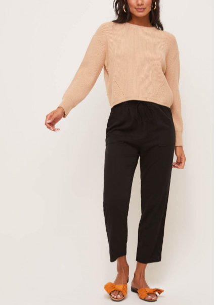 FARAH RIBBED CROP SWEATER