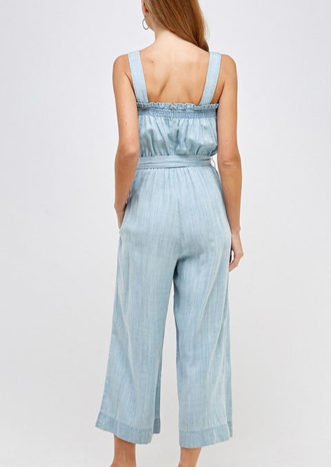 denim jumpsuit ; denim strapless jumpsuit; denim tie waist jumpsuit