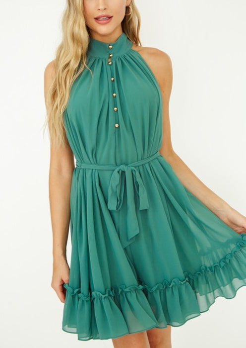 BUTTON DETAIL RUFFLE DRESS