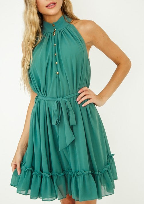 RUFFLE DRESS WITH WAIST TIE
