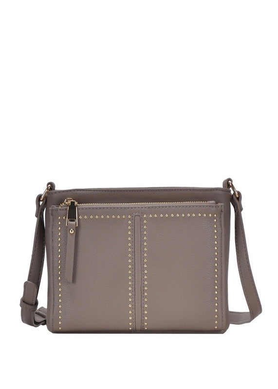 vegan leather cross body with gold studs