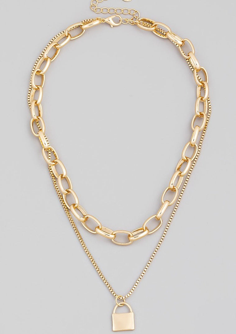 LAYERED CHAIN LOCK NECKLACE