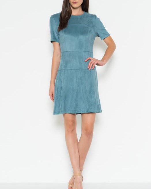 APRIL FAUX SUEDE A-LINE DRESS