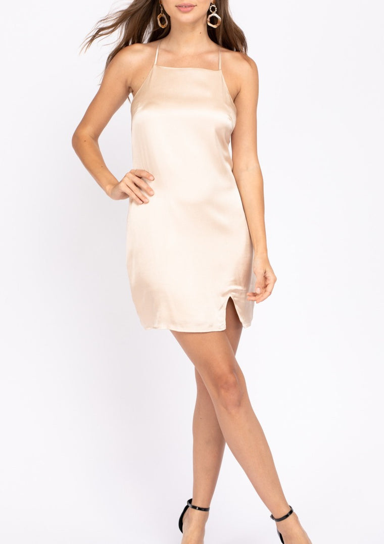 GINGER SATIN HALTER DRESS