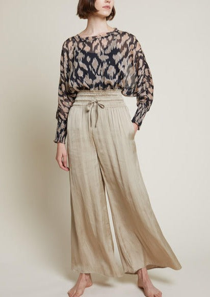 LEAH SATIN WIDE LEG PANTS
