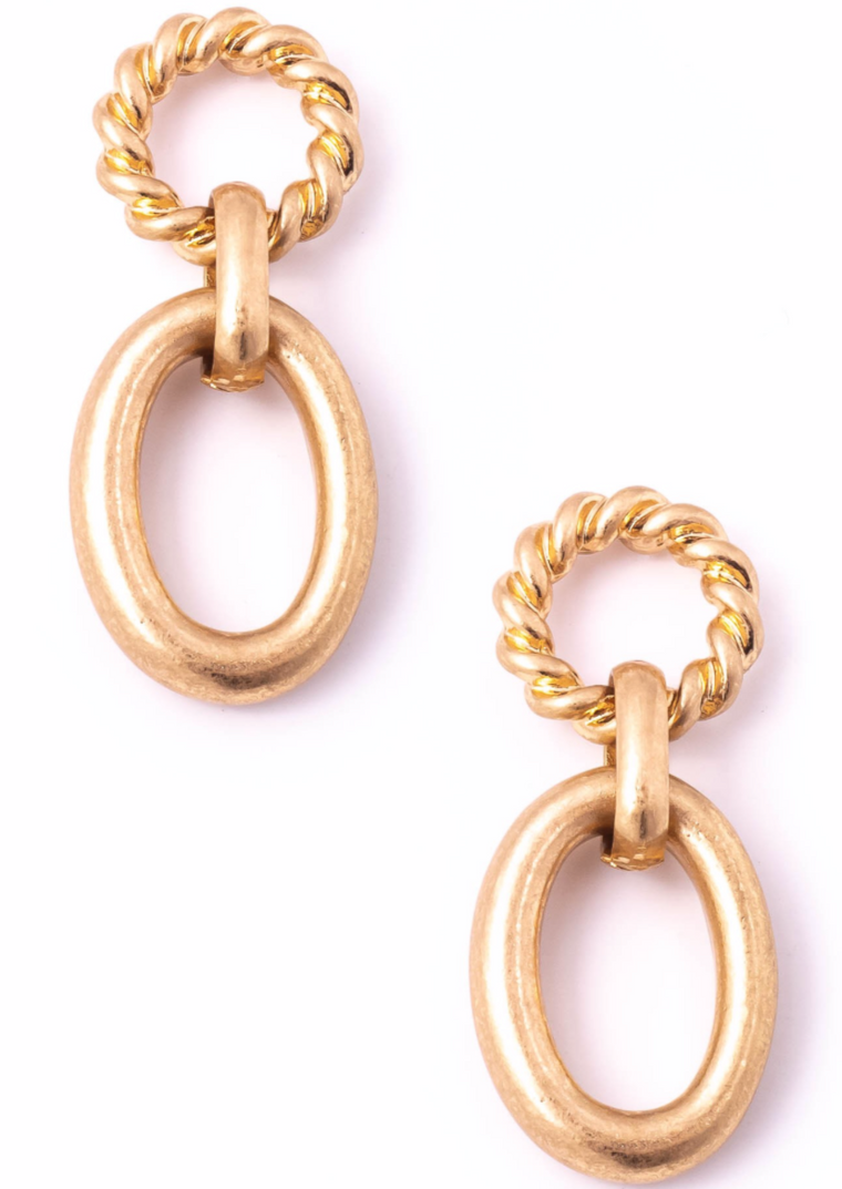 GOLD LOOP DROP EARRINGS