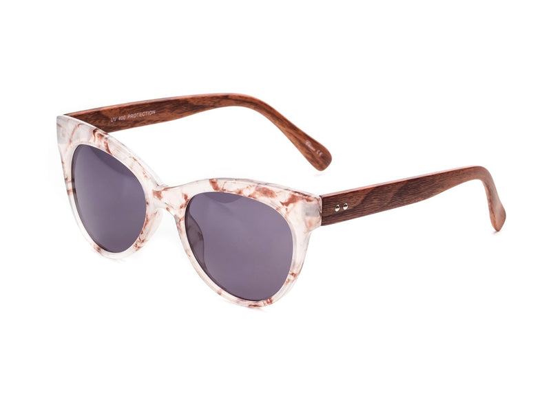 clear tie-dye sunglasses with wooden frame