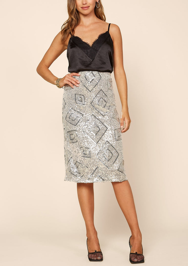 MARCI SEQUIN MIDI SKIRT