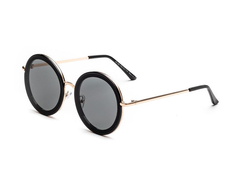 black round sunglasses with gold wire