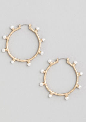 PEARL STUDDED HOOP EARRINGS