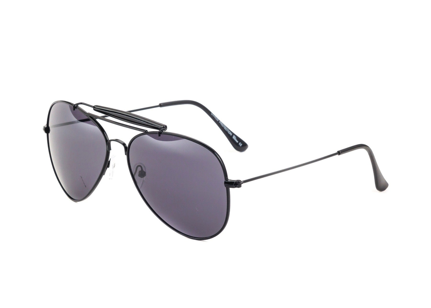 black metal frame aviator sunglasses with top bar