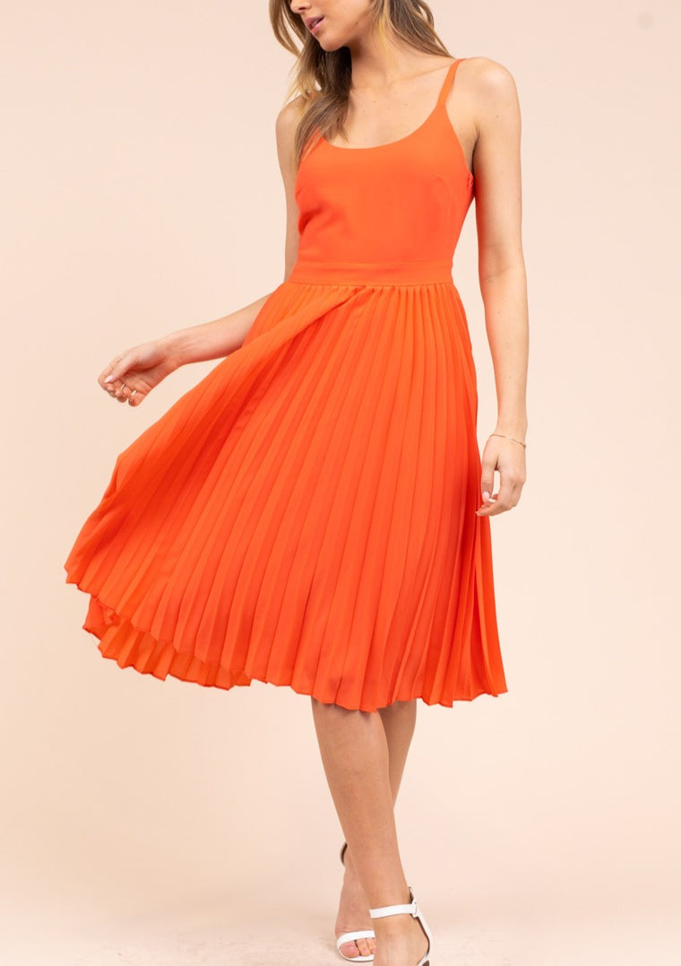 KIRA PLEATED MIDI DRESS