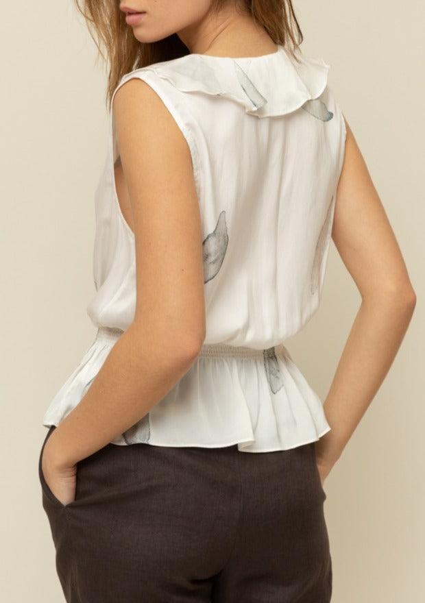 satin peplum blouse