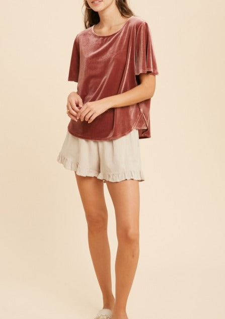 NINA BELL SLEEVE VELVET TOP