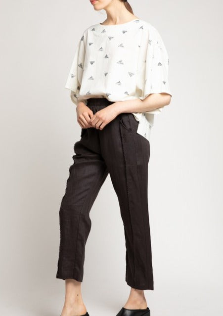 raw edge linen pants