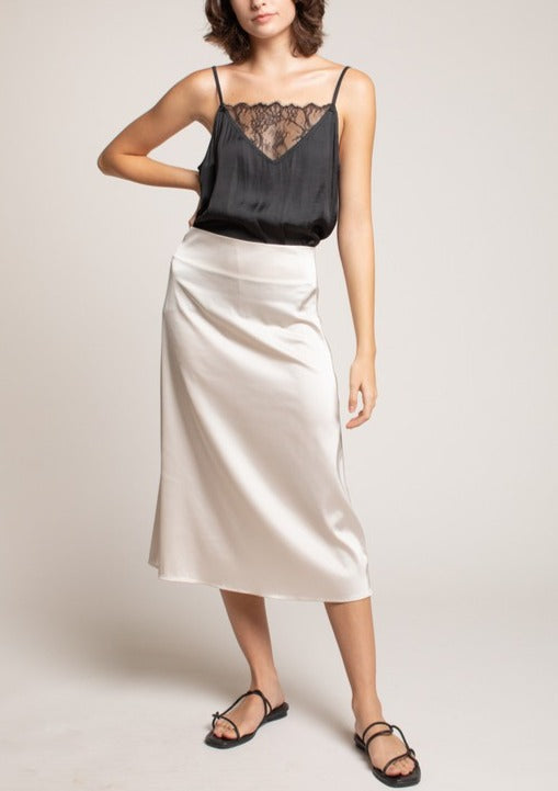 WREN SATIN MIDI SKIRT