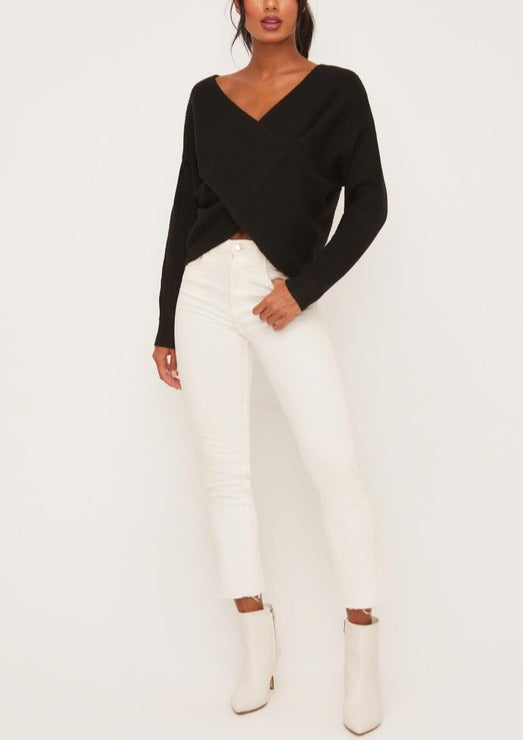 MALINDA CROSSED RIBBED SWEATER